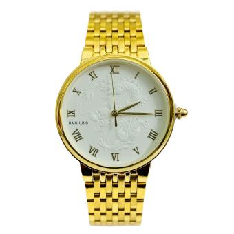 Đồng hồ nam dây thép mạ Vàng mặt rồng BAISHUNS BS002 (Mặt trắng)