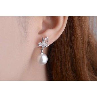 Bông tai bạc bướm đá ngọc trai Hàn Quốc SPE-ED294