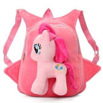 Kids Child Girls School Bag Cartoon Horse Plush Doll Bag Backpack Satchel Gift Pink - intl
