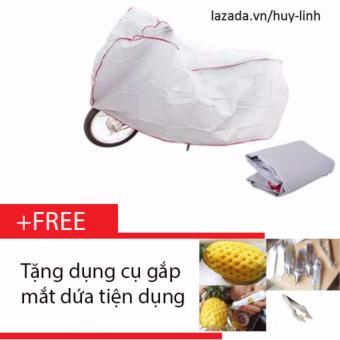 Combo bạt che phủ xe máy cao cấp chống nước ( Ghi ) + Free dụng cụ gắp mắt dứa cao cấp