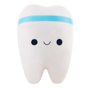 Cute PU Soft Squishy Imitation Tooth-shaped Hanging Key Chain Pendant for Bag Purse Wallet Phone Decoration Blue - intl