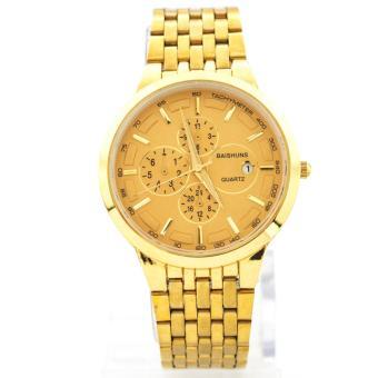 Đồng hồ nam dây thép không gỉ Baishuns BS122 (Mặt Vàng) + Tặng kèm dây chuyền tỳ hưu thạch anh
