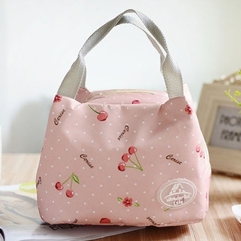 Moonar Portable Thermal Insulated Lunch Container Box Storage Bag Picnic Carry Totes Pouch (6# Pink Strawberry) - intl