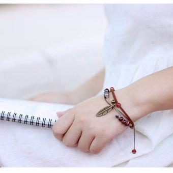 Vòng tay nữ dây da lông vũ đẹp nhẹ nhàng