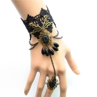 Retro Vintage Gothic Punk Style Lace Beads Slave Bracelet Ring Black - Intl