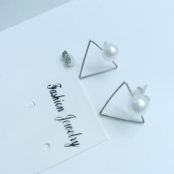 Bông tai tam giác mảnh rỗng hạt châu màu bạc