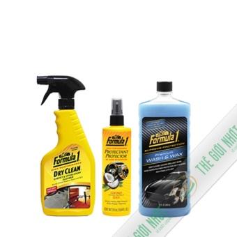 Bộ 3 chai xịt chăm sóc xe Formula1 ( Vệ sinh nội thất và khử mùi dạng xịt-Chất bảo vệ 2 trong 1 dưỡng và hương dừa-Nước rửa xe có chất đánh bóng)