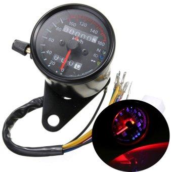Teamtop Motorcycle Dual Odometer Speedometer Gauge LED Backlight Signal New Universal - intl