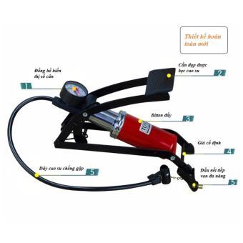 Bộ 1 bơm hơi đạp chân đơn ô tô xe máy và 1 đồng hồ đo áp suất lốp xe điện tử