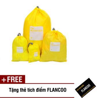 Bộ 4 túi rút đựng đồ đi du lịch Flancoo 3714 (Vàng) + Tặng kèm thẻ tích điểm Flancoo