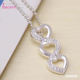 Mặt dây chuyền nữ trang sức bạc Ý S925 Bạc Xinh 3 trái tim D16035