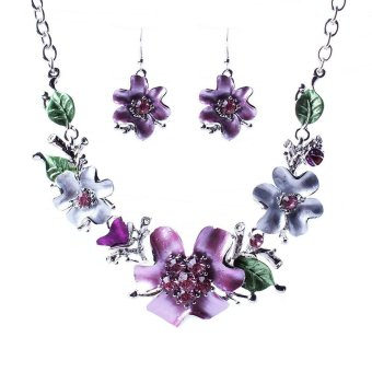 niceEshop Women Plated Oil Drip Rhinestone Flower Bib Necklace Earring Sets