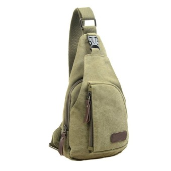 Canvas Unbalance Backpack Crossbody Shoulder Bag Ches Grenn