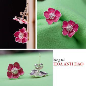 Bông tai nữ trang sức bạc S925 Italia Bạc Xinh - Hoa Anh đào ED072