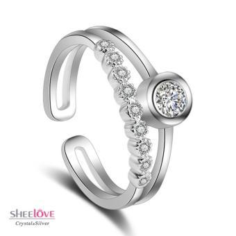 Nhẫn nữ đính đá thời trang cổ điển xinh xắn Freesize SPR-K108(Bạc)