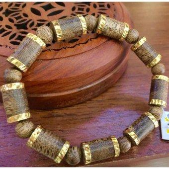 Vòng đeo tay trầm hương Phúc Linh bọc vàng 18k nữ