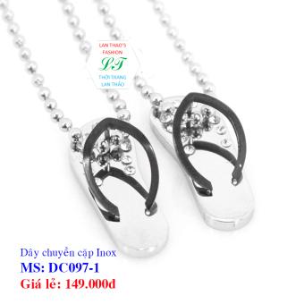Dây chuyền Inox cặp đôi dép DC097-1 (Đen Trắng)