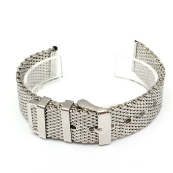 Men Silver Watch Strap Band Shark Mesh Stainless Steel Band Bracelet 18/20/22mm