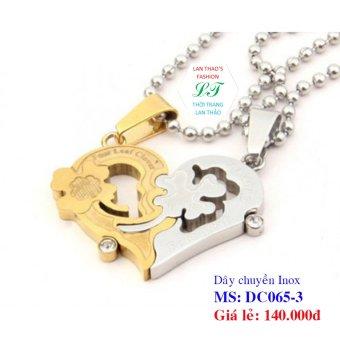 Dây chuyền Inox cặp trái tim cỏ 4 lá DC065-3 (Vàng)