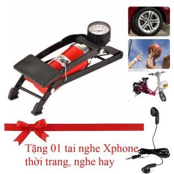 Bơm xe đạp, xe máy, ô tô Cao cấp (loại đạp chân, có đồng hồ đo áp suất) (Tặng tai nghe Xphone thời trang, nghe hay)