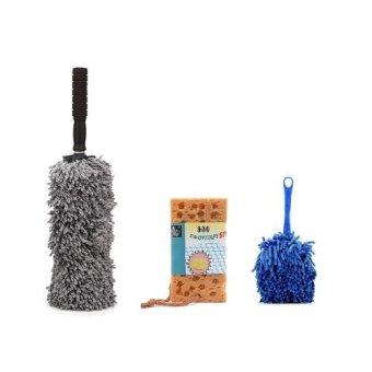 Bộ 1 chổi lau xe sợi dầu cỡ nhỏ + 1 chổi dọn nội thất + 1 bọt biển lau rửa xe