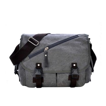 Cotton Canvas Casual Shoulder Bag Crossbody Messager Bag Tablet PC Carry Bag Travel School Bag Grey - intl