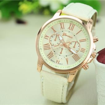 Đồng hồ nữ dây da tổng hợp Geneva G100 (trắng)