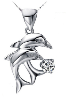 Fancyqube Rhinestone Dolphin Love Pendant Necklace Jewelry Without Chain White