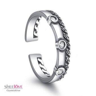 Nhẫn nữ cổ điển đính đá phong cách retro Freesize SPR-TY056(Bạc)