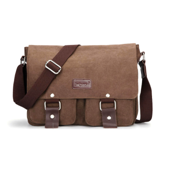 Canvas Messenger Shoulder Sling Bag for Men Students Coffee