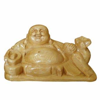 Tượng phật di lặc ngồi cầm vàng gỗ pơ mu cao cấp PMN02