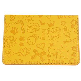 LALANG Cartoon Passport Holder Cover PU Leather Wallet Yellow