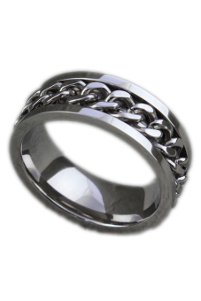 Classic Mens Curb Chain Center Stainless Steel Band Ring 8Mm Silver-11 Silver