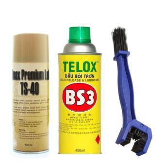 Bộ rửa sên TS-40 450ml. chai xịt bôi trơn Telox BS3 450ml và bàn chải vệ sinh sên 3D