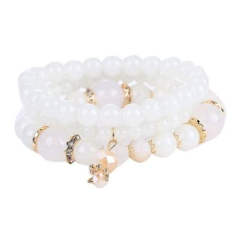 Women Multilayer Acrylic Beads Bracelet Charms Bangle (White) - intl