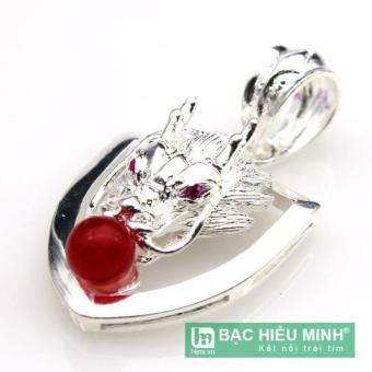 mặt dây chuyền nam BẠC HIỂU MINH mdn016 rồng ngậm ngọc đỏ