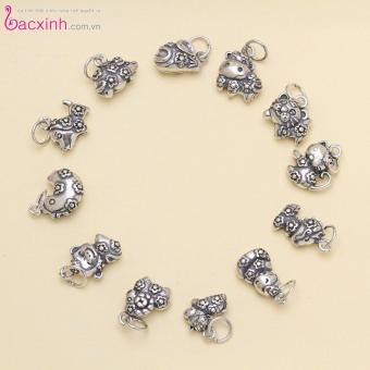 Mặt đeo dây chuyền, lắc tay, lắc chân cho bé 12 con giáp bạc Thái S925 Bạc Xinh - Quà tặng tuổi Thân PP1383