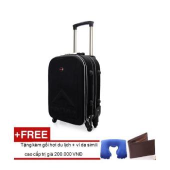 Vali du lịch BiTi 4 bánh xoay chiều 20 inch (Đen) Tặng kèm gối hơi du lịch+ví da simili cao cấp