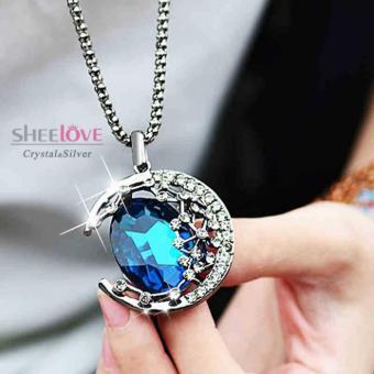 Dây chuyền nữ dáng ánh trăng pha lê xanh lấp lánh sang trọng Hàn Quốc MYL-X0449