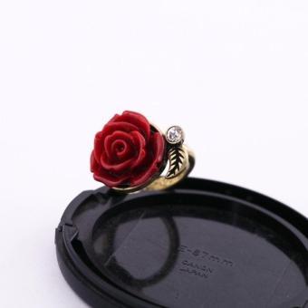 Nhẫn hoa hồng tinh tế quý phái màu đỏ