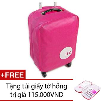 Túi bọc vali chống nước size 24 (Hồng) + Tặng túi đựng giấy tờ du lịch (Hồng)
