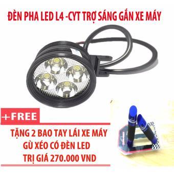 Đèn pha led L4-CYT trợ sáng gắn xe máy + 2 bao tay lái xe máy gù xéo có đèn led (xanh)