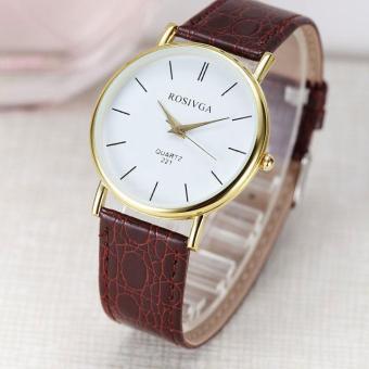 Đồng hồ nữ dây da thời trang Rosivga 6696 (Dây nâu)
