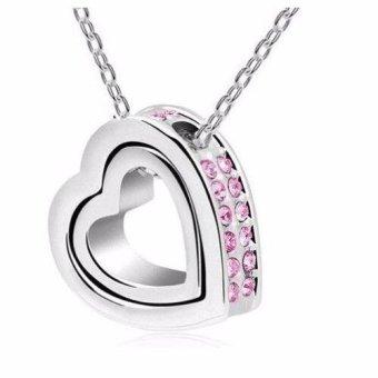 dây chuyền bạc nữ mặt hai tim lồng màu bạc đá hồng (Bạc)