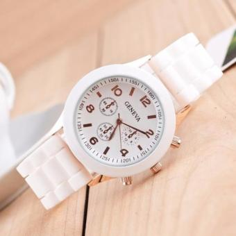 Đồng hồ nam dây cao su GENEVA (trắng)