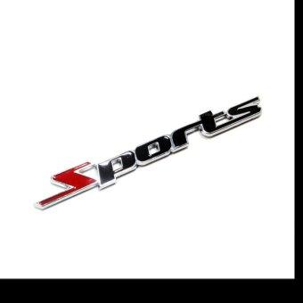 Tem chữ sport kim loại dán xe ô tô ( Đen phối đỏ )