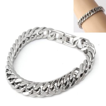 Silver Tone 316L Stainless Steel Curb Chain Mens Chunky Fashion Bracelet 23cm - intl