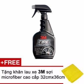 Chai xịt chăm sóc lốp phục hồi cao su - 3M Tire Restorer PN39042 473ml (Đen) + Tặng kèm khăn 3M