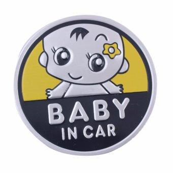 Logo Baby In Car dán xe ôtô (vàng-tròn 7cm)