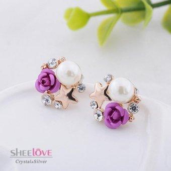 Bông tai nữ bạc ngọc trai bông hồng quyến rũ HKE-B1759